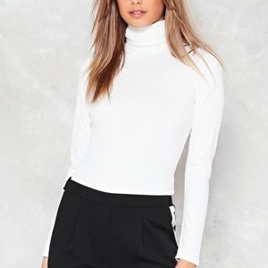 Nasty Gal Ribbed Long Fitted Turtleneck Sz 2